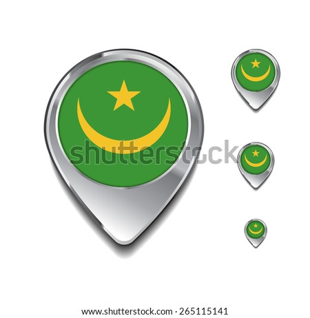 mauritania flag map pointer. 3d Map Pointer with flag glossy button style on gray background - stock vector