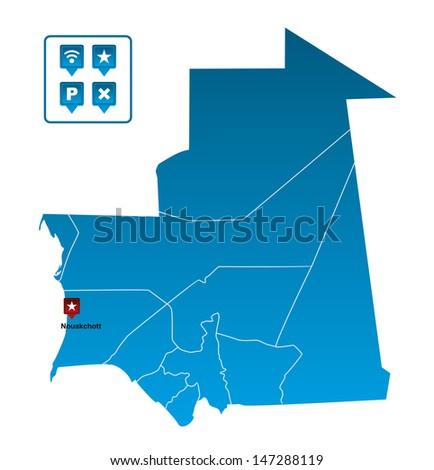 Mauritania Map - stock vector