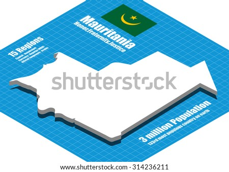 Mauritania map vector three dimensional