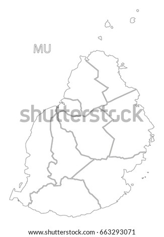 Mauritius Districts Outline Silhouette Map Illustration Stock Vector ...