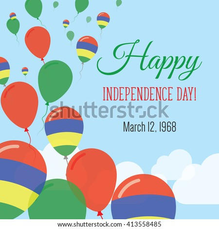 Mauritius Independence Day Greeting Card. Flying Flat Balloons In National Colors of Mauritius. Happy Independence Day Vector Illustration. Mauritian Flag Balloons.