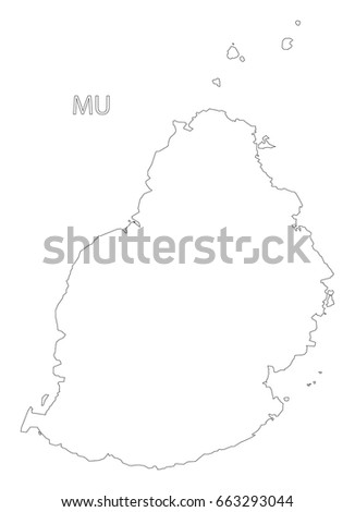 Mauritius Outline Silhouette Map Illustration Black Stock Vector ...