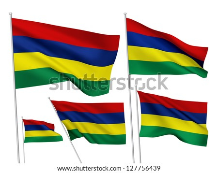 Mauritius vector flags. A set of 5 wavy 3D flags created using gradient meshes - stock vector