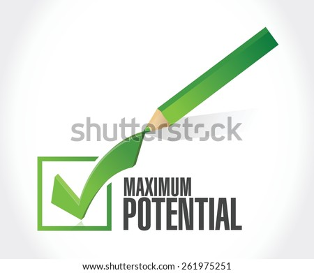 maximum potential check mark sign concept illustration design over white - stock vector