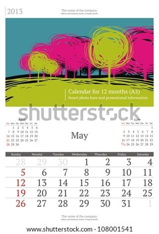 May. 2013 calendar. - stock vector