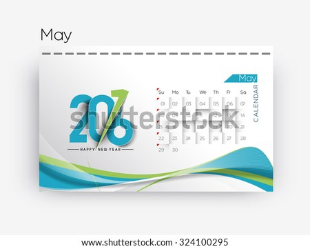 May calendar design.2016  - stock vector