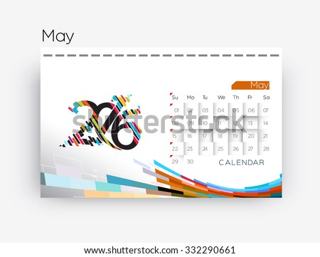 May 2016 calendar design. - stock vector