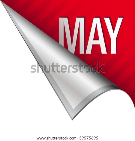 May calendar month icon on vector peeled corner tab suitable for use in print, on websites, or in advertising materials.