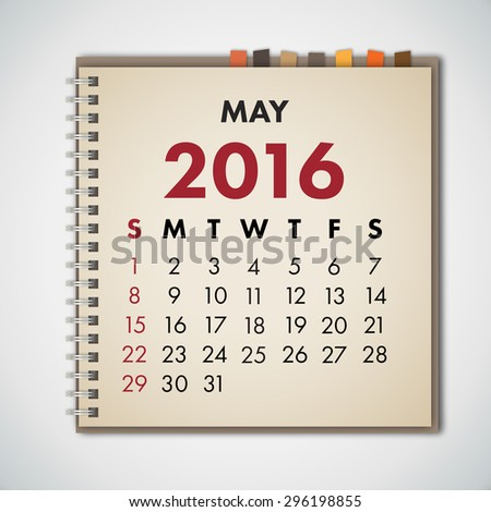 May 2016 Calendar Notebook Vector  - stock vector