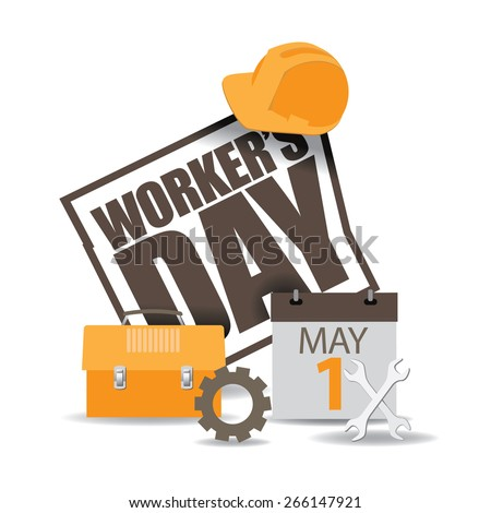 May first workers day icon EPS 10 vector royalty free stock illustration for greeting card, ad, promotion, poster, flier, blog, article, social media, marketing - stock vector
