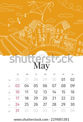 May. Hand drawn calendar. 2015 - stock vector