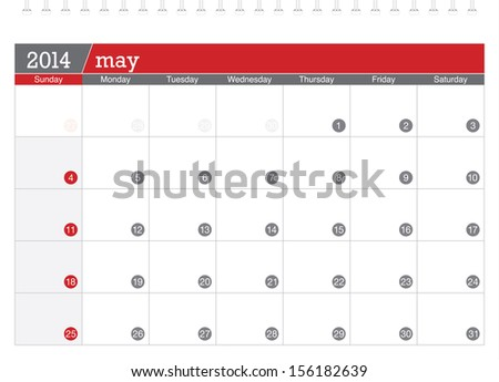 may 2014 planning calendar - stock vector