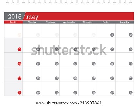 May 2015 planning calendar - stock vector