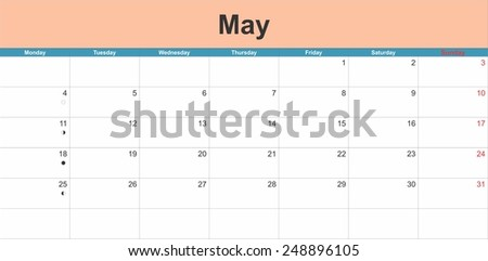 May 2015 planning calendar. Illustration - stock vector