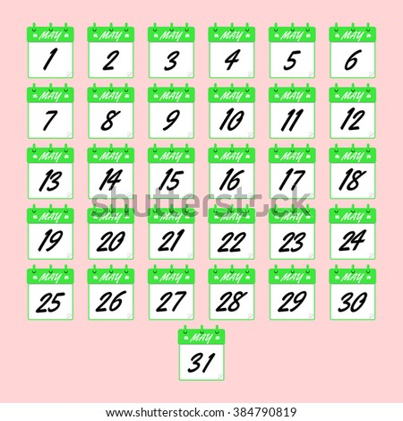 May vector calendar. Icons of dates for may. Days of may for your design. Vector icons of dates for may.