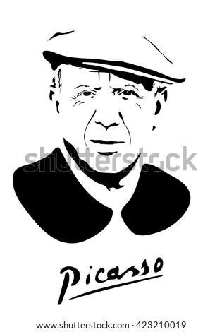 May 19, 2016: vector illustration of a portrait of Pablo Picasso with signature