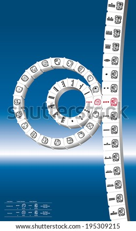 Maya Calendar consisting of 260-day count Tzolkin combined with 365-day solar year Haab to form a Calendar Round. Calendar showing the first day of the new calendar round - doomsday. Vector. - stock vector