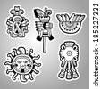 Maya objects. Black and white graphic image of the Maya. Maya designs. Maya design elements. - stock vector