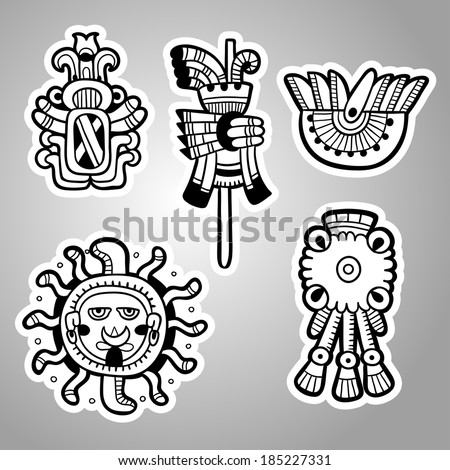 Maya objects. Black and white graphic image of the Maya. Maya designs. Maya design elements. - stock vector