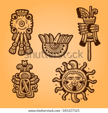 Maya objects. Retro style. Engraving. Maya designs. Maya design elements. - stock vector