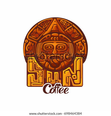 Maya Inca Style Logo Sun Coffee Stock Vector 698464384 Shutterstock