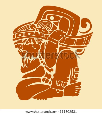 Maya ornament man - stock vector
