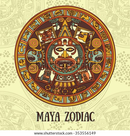 Maya zodiac, card with ethnic ornament, vector illustration