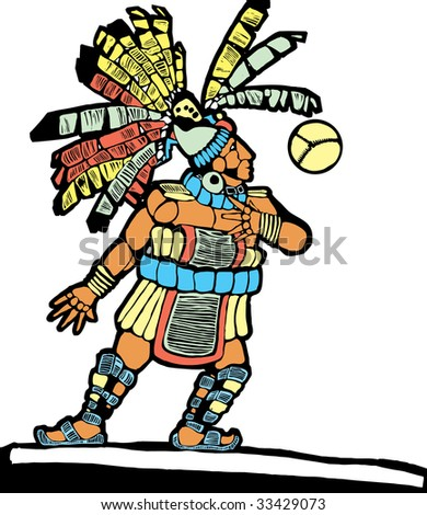 Mayan Ballplayer designed after Mesoamerican Pottery and Temple Images. - stock vector