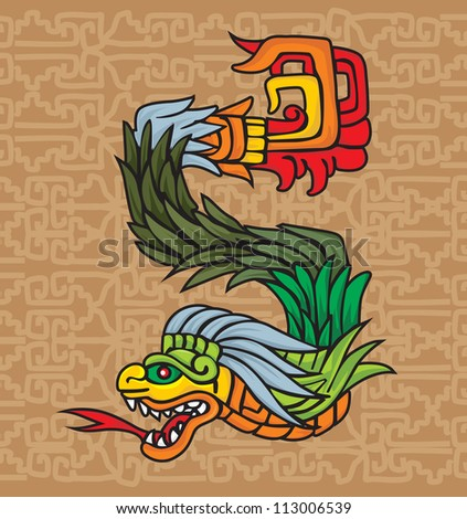 Mayan dragon symbol, vector illustration - stock vector