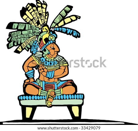Mayan King designed after Mesoamerican Pottery and Temple Images. - stock vector