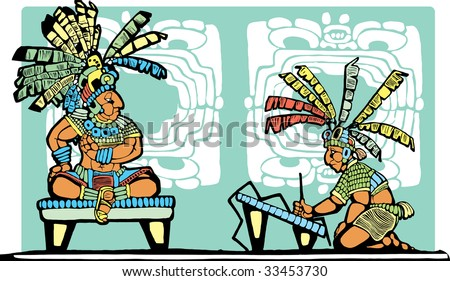 Mayan King on throne being recorded by scribe. - stock vector