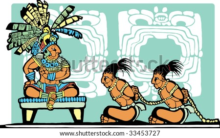 Mayan King on throne looks over war prisoners. - stock vector