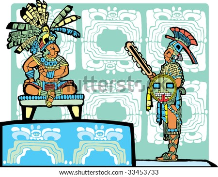 Mayan King on throne speaks to a warrior in full regalia. - stock vector