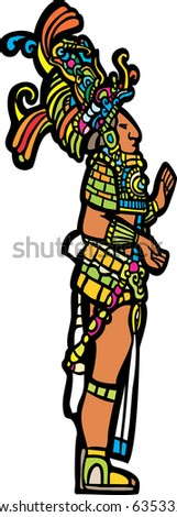 Mayan Lord adapted from Mayan Temple images. - stock vector