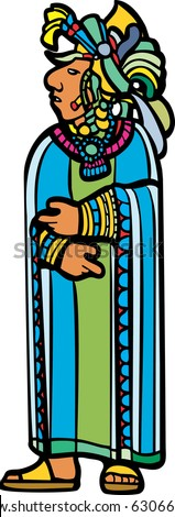 Mayan lord in blue and green robe with feathered headdress in image derived from traditional mayan temple imagery. - stock vector