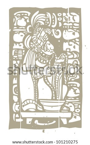 Mayan Lord running rope through his tongue in a traditional blood sacrifice. - stock vector