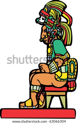 Mayan Lord sitting on a small stool. - stock vector
