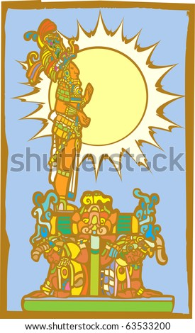 Mayan lord stands on the backs of slaves with sun in background. - stock vector