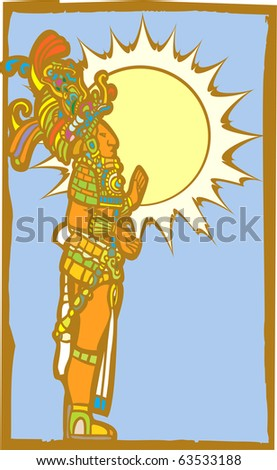 Mayan lord with the sun and sky as a backdrop.