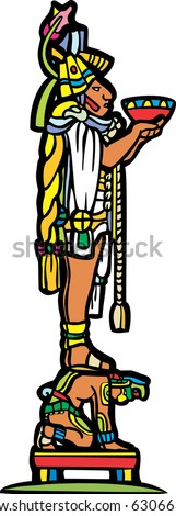 Mayan priest with offering bowl standing on the back of slave in image derived from traditional mayan temple imagery. - stock vector