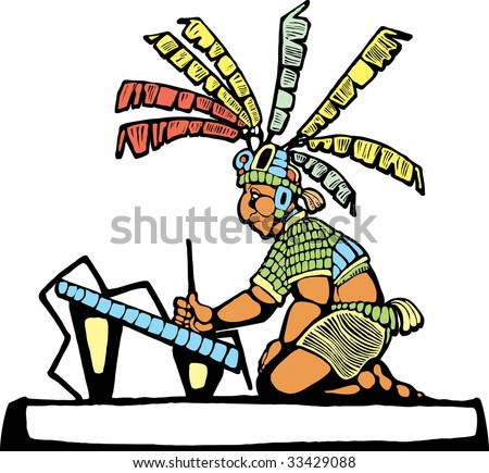 Mayan Scribe designed after Mesoamerican Pottery and Temple Images. - stock vector
