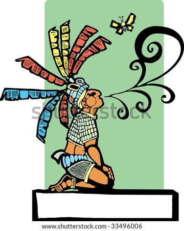Mayan storyteller with speech scroll coming from his mouth and butterfly. - stock vector