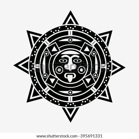 Mayan Sun Icon Symbol Stock Vector 395691331 Shutterstock