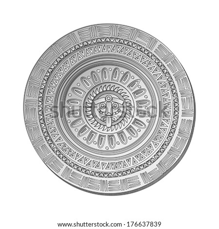 Mayan Sun stone symbol over white background - stock vector