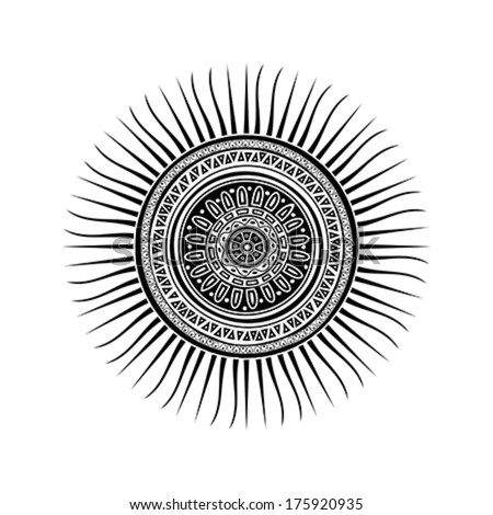 Mayan sun symbol, tattoo design over white background - stock vector