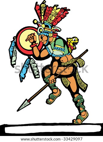 Mayan warrior designed after Mesoamerican Pottery and Temple Images. - stock vector