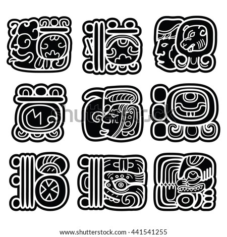 Mayan writing system, Maya glyphs and languge vector design   - stock vector