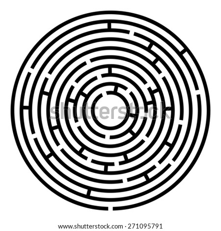 Maze educational kids labyrinth. Vector illustration of educational kids game - round labyrinth with some wrong ways - stock vector