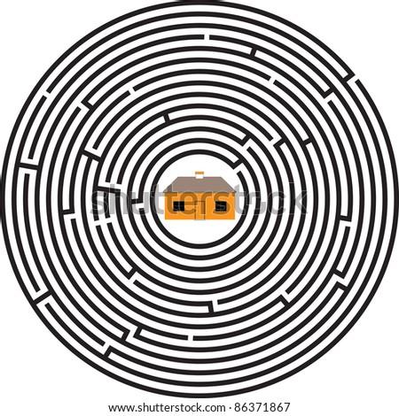 maze ellipse house - stock vector