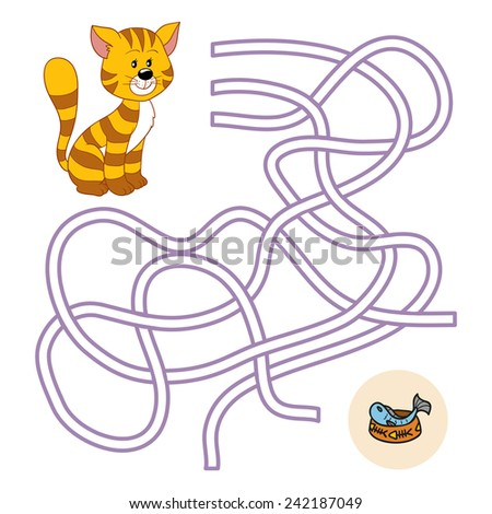 Maze game (cat) - stock vector